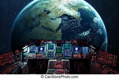shuttle., elementos, dentro, nasa, amueblado, espacio