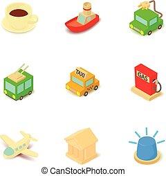 Shuttle icons set, isometric style - Shuttle icons set....
