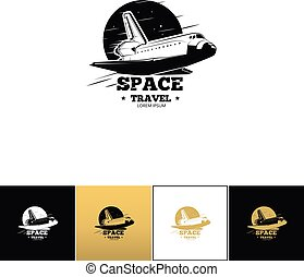 Shuttle logo or space travel vector icon