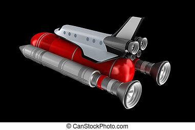 shuttle, model, vervoerder