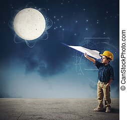 Shuttle to the moon - Child imagines launch a shuttle to...