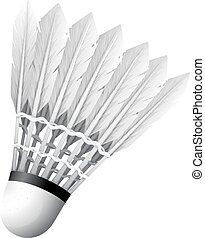 Close up shuttlecock with white feather