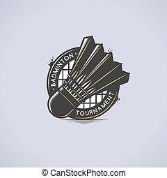 Shuttlecock Emblem - Badminton emblem with shuttlecock...