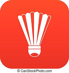 Shuttlecock icon digital red for any design isolated on...
