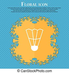 Shuttlecock icon icon. Floral flat design on a blue abstract background with place for your text. Vector