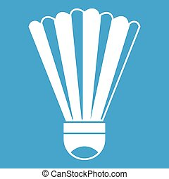 Shuttlecock icon white isolated on blue background vector...