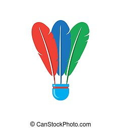 Shuttlecock Icon with Colorful Feathers Isolated on White Background
