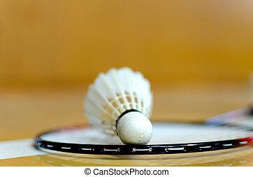 Shuttlecock on badminton racket on line