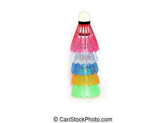shuttlecocks for badminton child isolated on white...