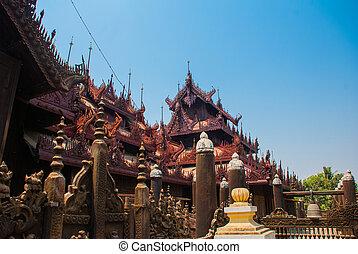 shwe, in, behälter, kyaung, gleichfalls, hölzern, teakholz, kloster, in, mandalay, myanmar
