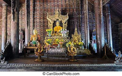 shwe, in, behälter, kyaung, myanmar