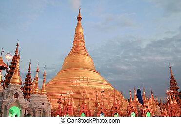 Shwedagon golden pagoda in Yangon, Myanmar (Burma)