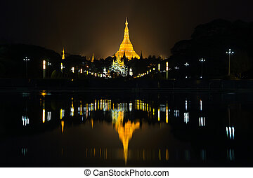 Shwedagon Pagoda in twilight. Yangon, Myanmar (Burma)