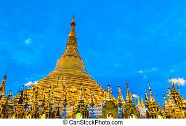 Shwedagon pagoda in Yangon, Myanmar (Burma) They are public doma