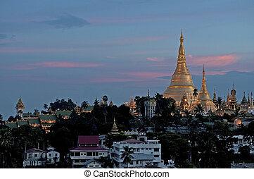 shwedagon pagoda in yangon myanmar - shwedagon burmese...