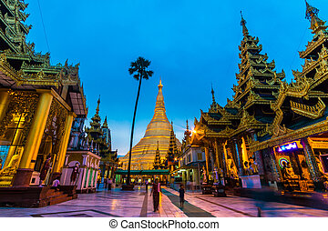 Shwedagon pagoda in Yangon, Myanmar (Burma) They are public...