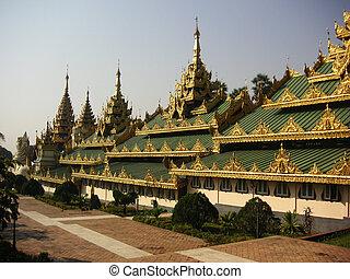 Shwedagon Pagoda - Part of the Shwedagon pagoda structure in...