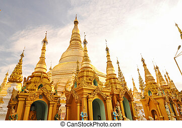 shwedagon, paya, 中に, yangon, ミャンマー