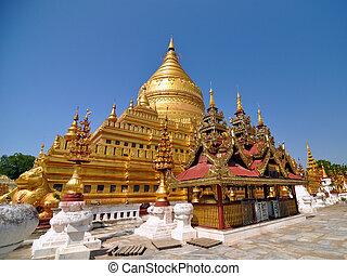 shwezigon, paya, pagoda, oriëntatiepunt, in, bagan