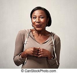 Shy African american woman portrait