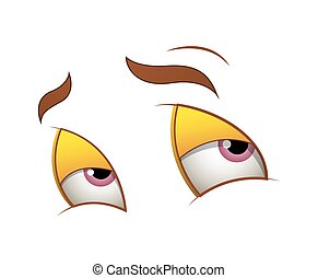 Shy Cartoon Eyes - Cartoon Lazy Tired Cute Innocent Eyes...