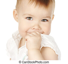 Shy child turn and smile, isolated over white