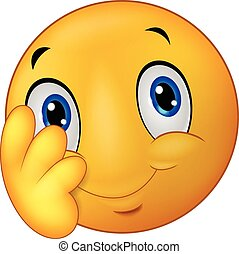 Shy emoticon smiley cartoon - Vector illustration of Shy...