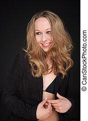 shy - Girl in Bikini with a black jacket - Mädchen mit...