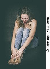 Shy girl in the corner