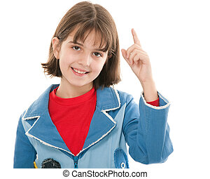 Shy girl makes suggestions - A pretty smiling girl in a blue...