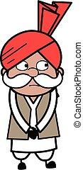 Shy Haryanvi Old Man Cartoon