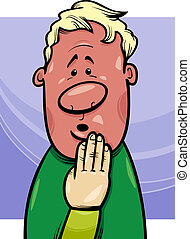 shy man concept cartoon illustration - Cartoon Concept...