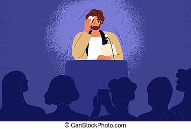 Shy man sweating, feeling fear and anxiety during public speaking. Nervous stressed speaker behind tribune. Fright of audience and stage speech concept. Flat vector illustration of frightened person