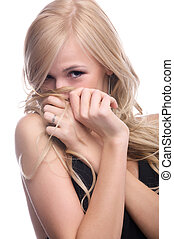 shy model - close-up portrait of beautiful blonde model...