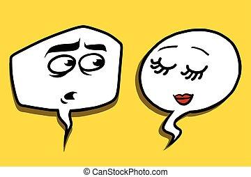 shy modest comic bubble face man woman, pop art comic vector...