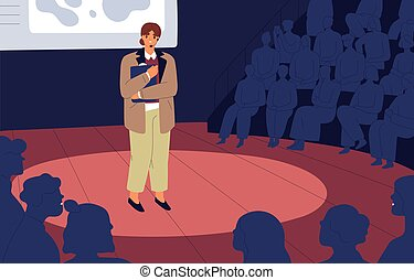 Shy nervous unconfident woman standing on stage before audience. Anxious frightened mute speaker. Fear of public speaking concept. Person feeling fright during her speech. Flat vector illustration