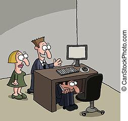 Shy new office worker cartoon