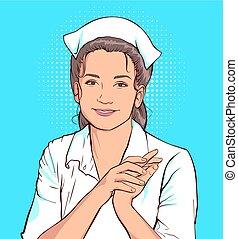 Shy nurse woman in white coat