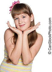 Shy preteen girl