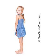 shy pretty little girl in blue dress