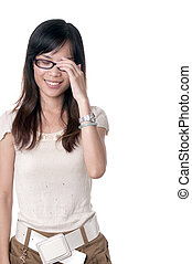 Shy smile of beautiful girl - A shy girl in glasses is...
