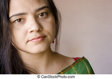 shy smile of beautiful Indian women