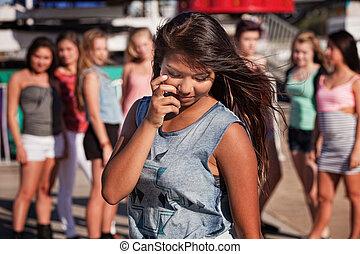 Shy Teenage Girl Looking Down - Shy teenage Filipino girl...
