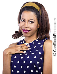 Shy Woman in Retro Style Clothing - woman in polka dot blue...