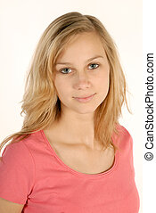 Shy young girl - Portraet of a shy blonde girl