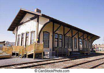 siècle, station, train, virage