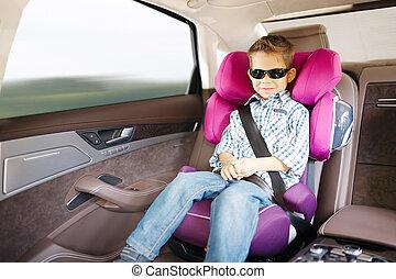 siège voiture, sécurité, luxe, bébé, heureux, gosse