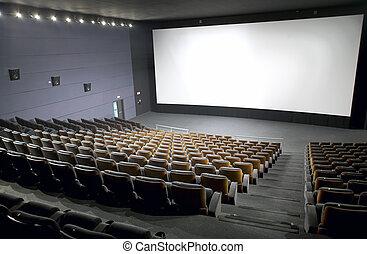 sièges, intérieur, écran, moderne, cinéma