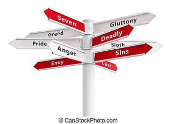 siódemka, śmiertelny, grzeszenie, na, crossroads znaczą