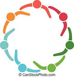 siódemka, grupa, ludzie, osoby, koło, logo.